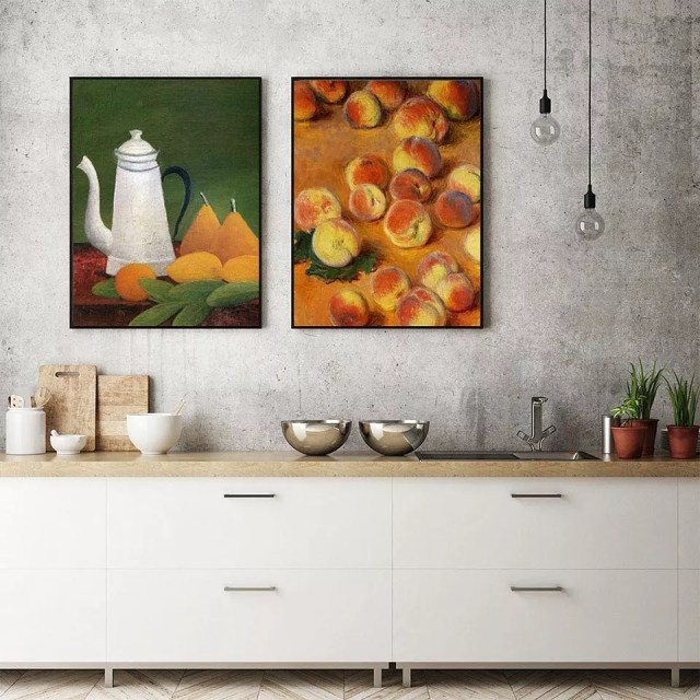 Food art hung over kitchen counter. Photo by Instagram user @brushwiz