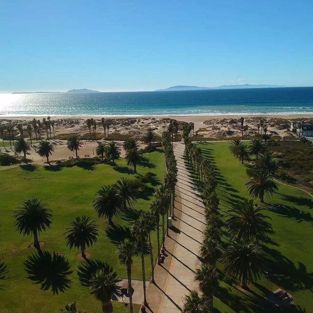 Aerial view of Oxnard Beach Park in Oxnard, CA. Photo by Instagram user @ventura_skypics