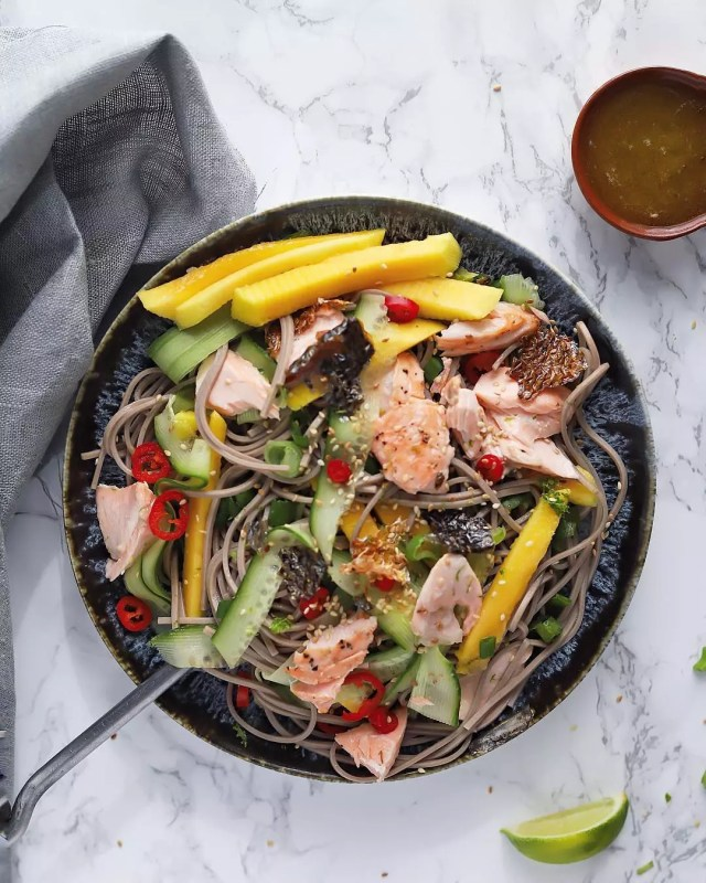 Bowl of Soba Noodle Salad with Salmon. Photo by Instagram user @everylittlecrumb