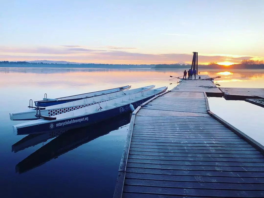 Boats Sitting in the Still Water at Vancouver Lake. Photo by Instagram user @vlacdb