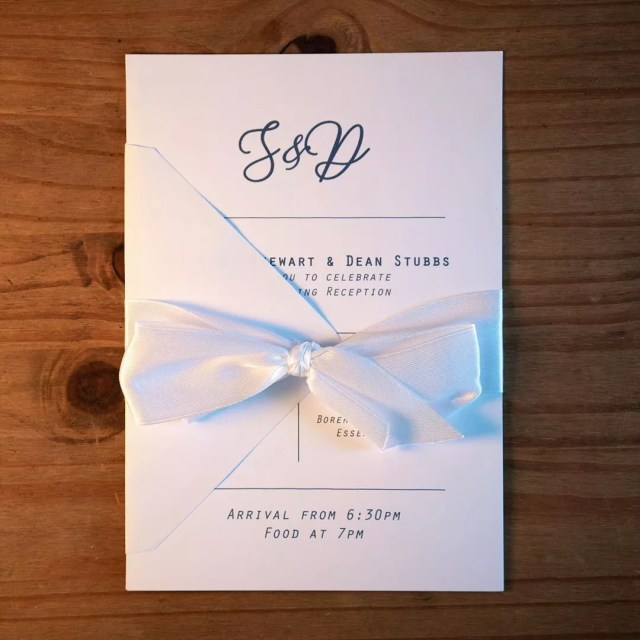 Wedding Invitation Tied with a Bow. Photo by Instagram user @katiefrancesart