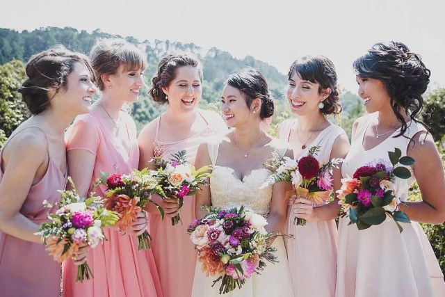 Bride and Bridesmaids in Dresses on Wedding Day. Photo by Instagram user @benshoots