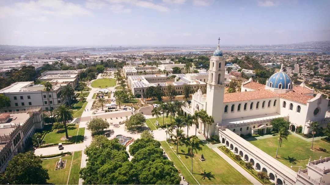 Aerial view of central campus at University of San Diego. Photo by Instagram user @uofsandiego