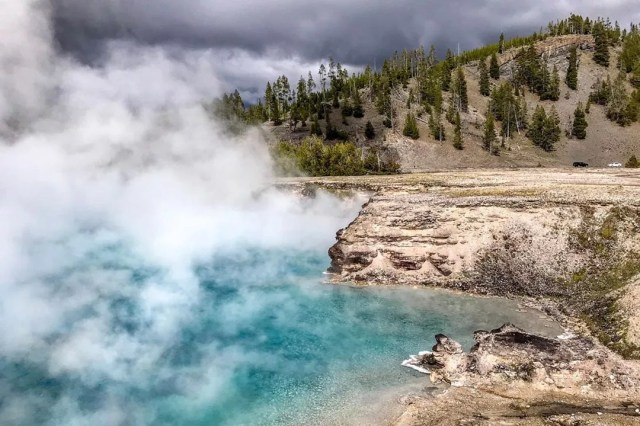 Steam coming off of water at Yellowstone National Park. Photo by Instagram user @gabaccia