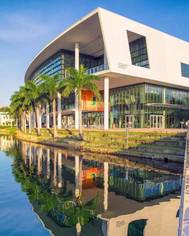Student Center Complex near water at UMiami in Miami, FL. Photo by Instagram user @univmiami