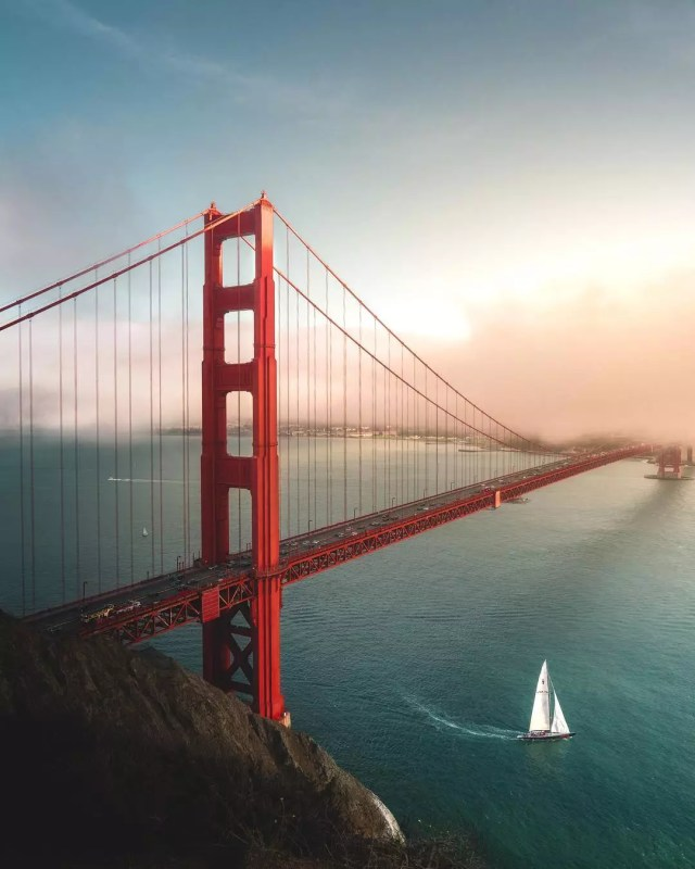 Aerial view of the red Golden Gate Bridge. Photo by Instagram user @paige_tingey