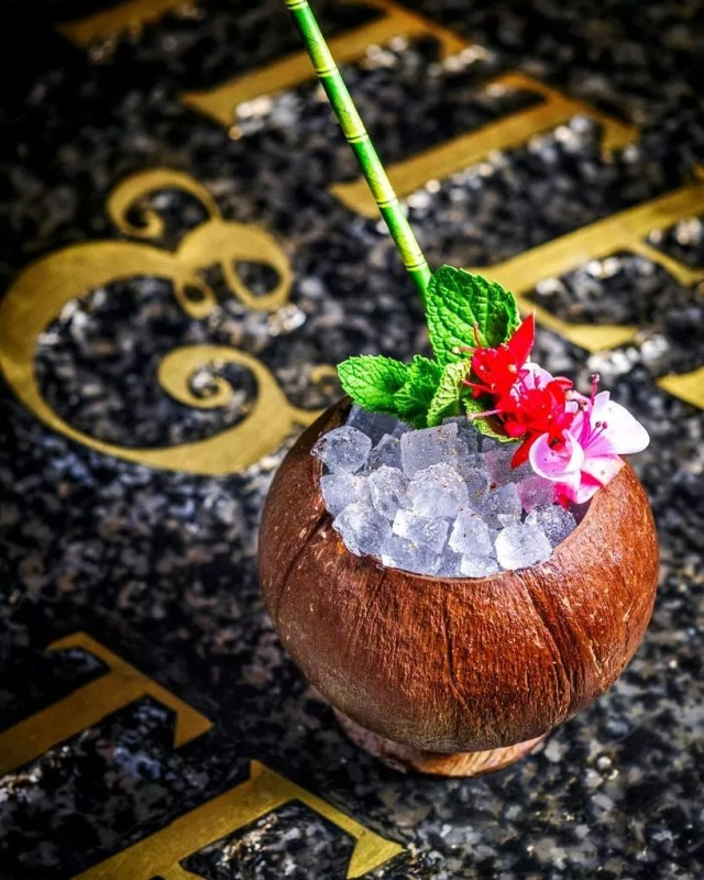 Icy cocktail in a coconut at Bitter and Twisted in Phoenix. Photo by Instagram user @kyleledeboer