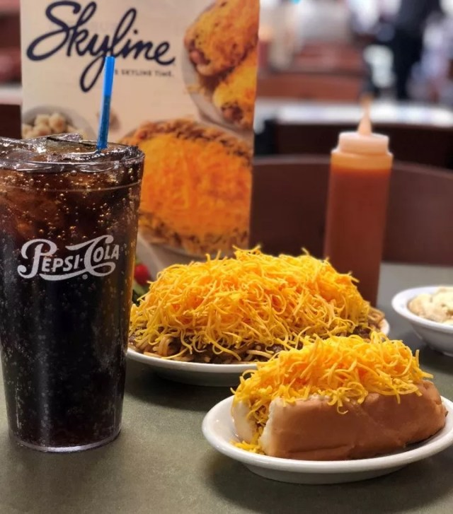 Hotdog and noodles covered in Cincinnati chili and cheese at Skyline Chili in Cincinnati. Photo by Instagram user @officialskylinechili