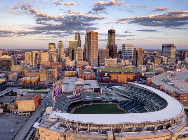 Aerial view of Downtown Minneapolis and Target Field. Photo by Instagram user @montenegrocra