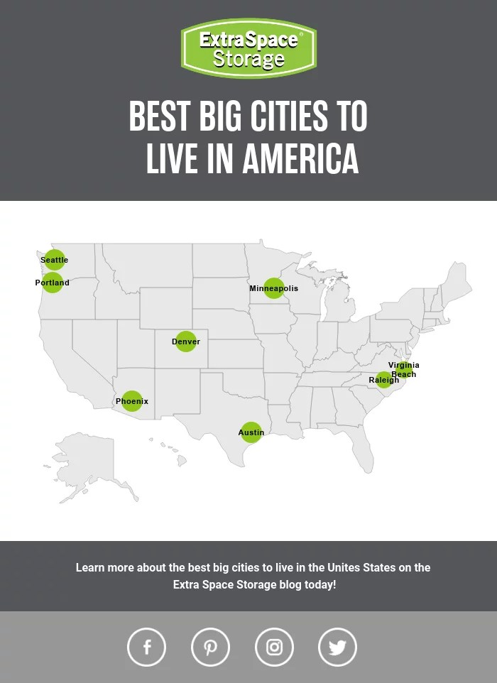 Map of Best Big Cities to Live in America: Extra Space Storage