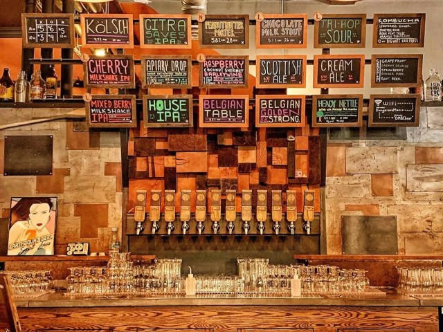 Wall of beers on tap at Dangerous Man Brewery. Photo by Instagram user @dangerousman