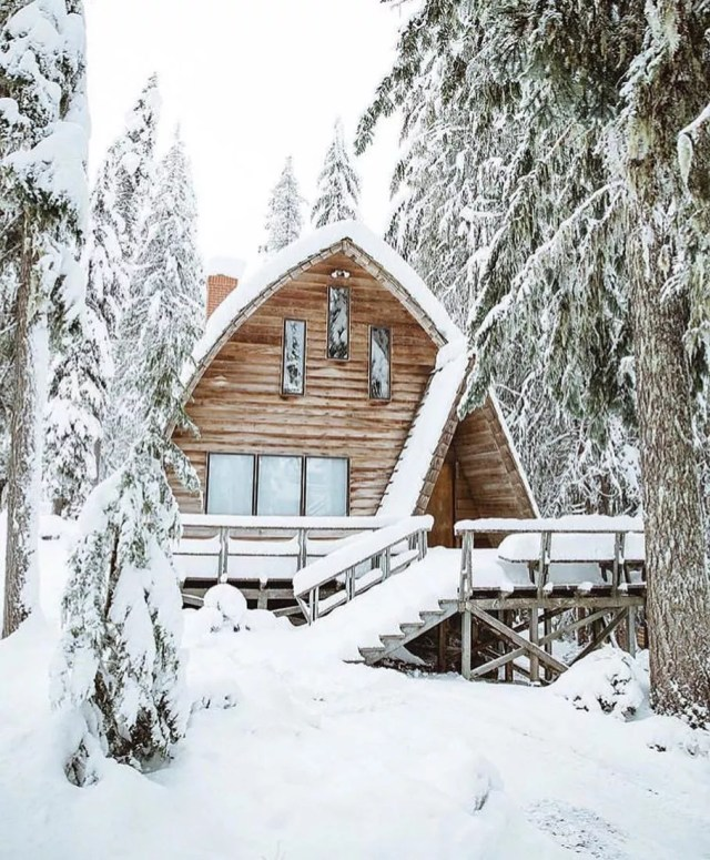 Cabin in snowy woods. Photo by Instagram user @erindemmerylovesproperty