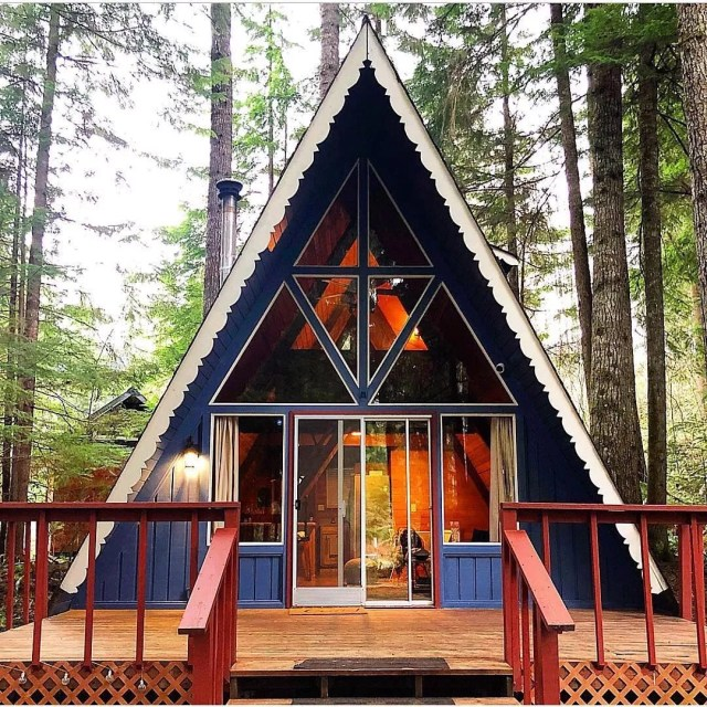 A-frame cabin in Ashford, WA. Photo by Instagram user @airbnb