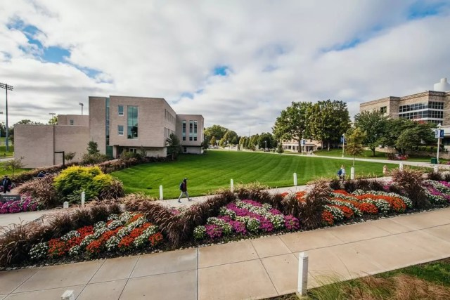 Rockhurst University campus on a sunny day. Photo by Instagram user @rockhurstuniversity