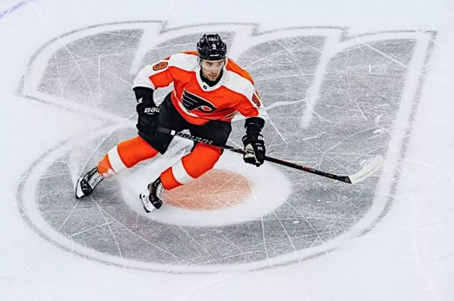 Philadelphia Flyers hockey player skating down the ice. Photo by Instagram user @ipro13