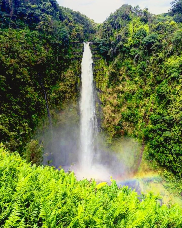 Giant waterfall with rainbow mist in Hilo. Photo by Instagram user @saltwatersven