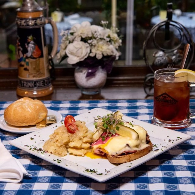 Open face sandwich with ham and eggs from Edelweiss Restaurant. Photo by Instagram suer @edelweiss.restaurant