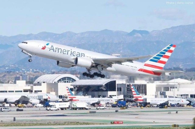 American Airlines plane taking off during the day. Photo by Instagram user @americanair