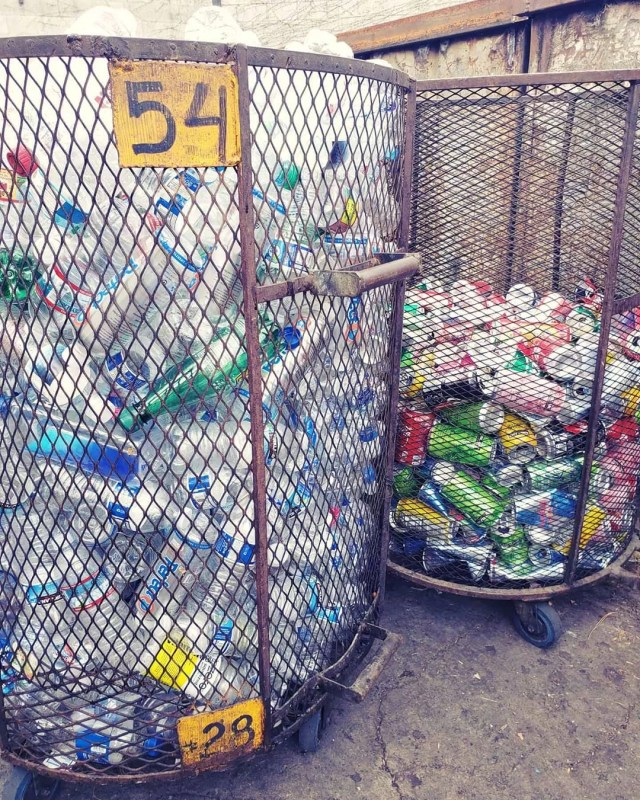 Recycle bins filled with cans and bottles. Photo by Instagram user @globalmetalrecyclinginc