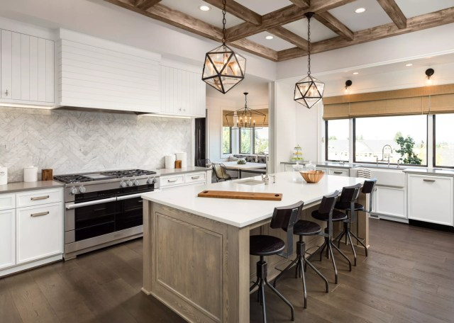 All white and tan kitchen.