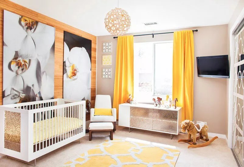 Yellow and white nursery. Photo by Instagram user @minimalistic_interior