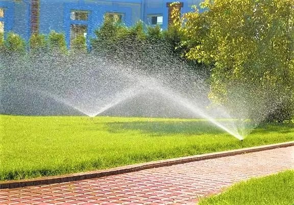 sprinklers watering a healthy lawn with wet brick walkway photo by Instagram user @saddlerivermagazine
