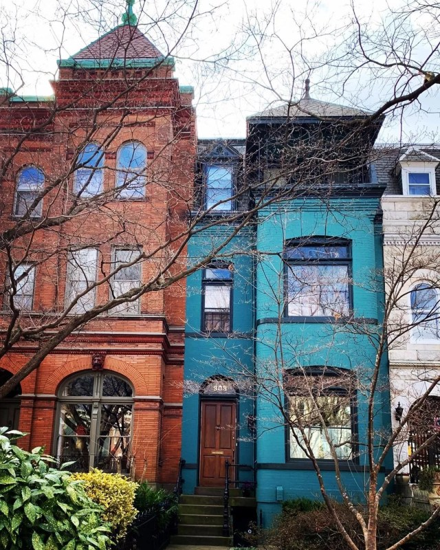 blue brick row houses in Capitol Hill, Washington, DC photo by Instagram user @steph_in_dc