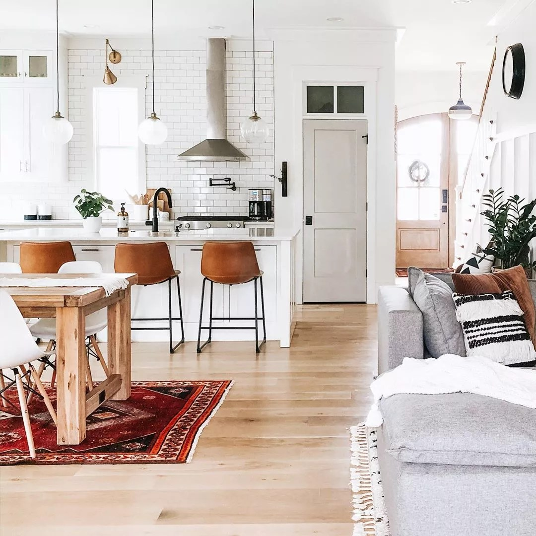 open concept floor plan with kitchen and living room side by side photo by Instagram user @hestershomestead