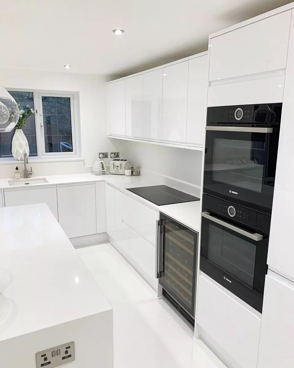 new appliances in all white kitchen photo by Instagram user @making_number2_new