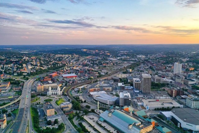 drone shot of downtown worcester, MA photo by Instagram user @sustainablecomfort