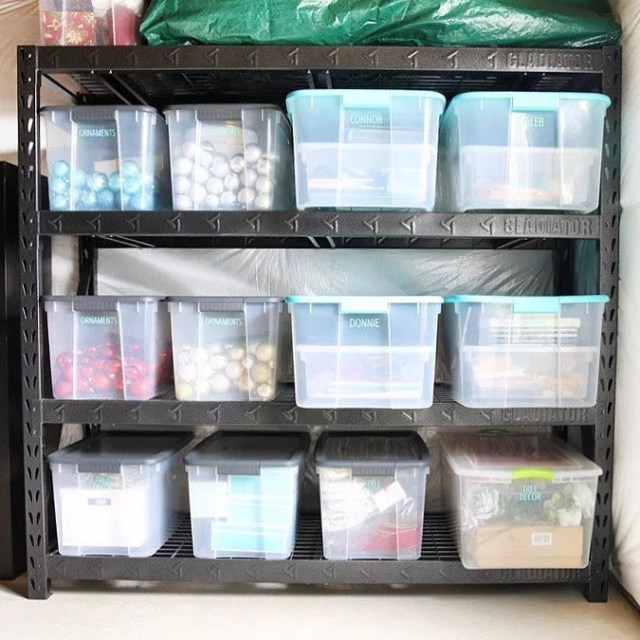 basement storage space with metal shelves and storage bins photo by Instagram user @abbyorganizes
