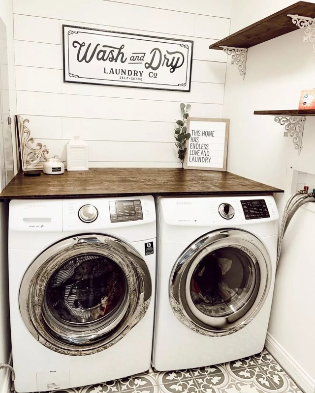new laundry room with shiplap on the wall and floating shelf over the washing machine photo by Instagram user @homeonherrington