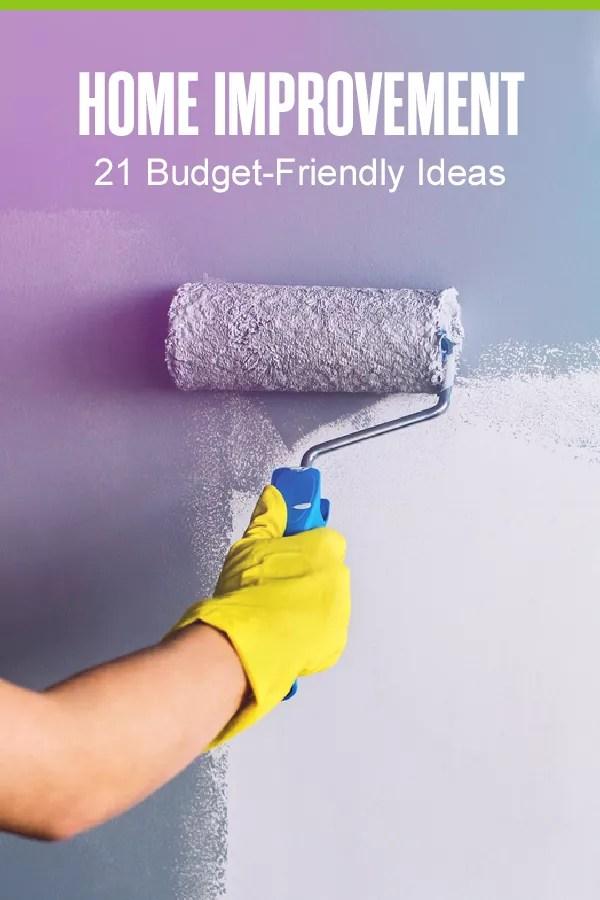 Pinterest Graphic: Home Improvement: 21 Budget Friendly Ideas