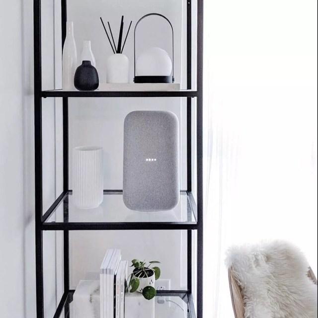 tall google home speaker on a shelf photo by Instagram user @madebygoogle