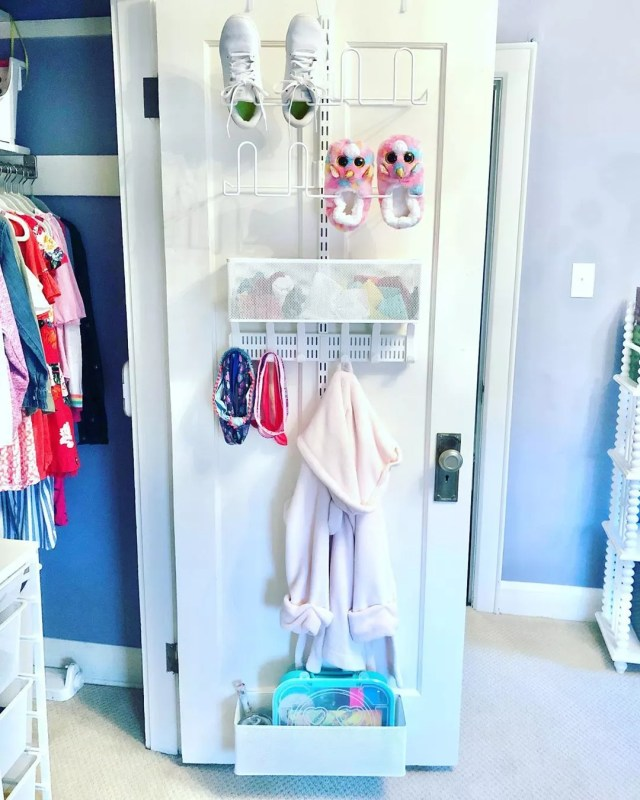 Closet Door with Behind the Door Storage Installed. Photo by Instagram user @decluttered_classified_home
