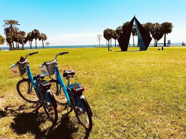 Two Bikes Parked On the Grass in St. Petersburg, FL. Photo by Instagram user @stpetefl