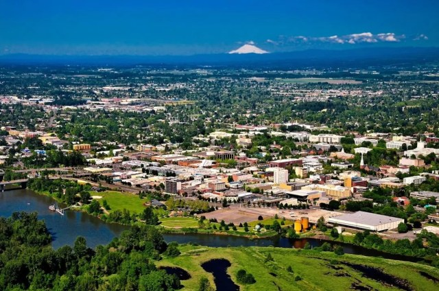Aerial View of Downtown Salem, OR with Mountain in the Background. Photo by Instagram user @cityofsalemoregon