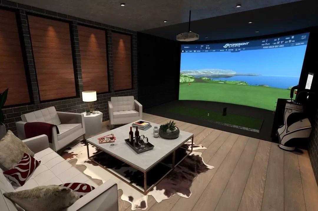 Basement Golf Simulator Room. Photo by Instagram user @rainorshinegolf