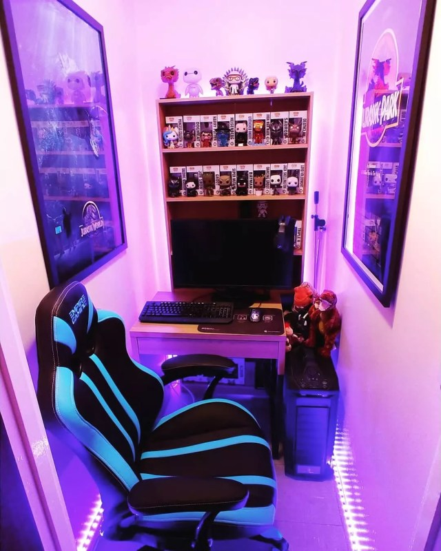 Small Office Gaming Space with Purple Up Lighting on the Floor. Photo by Instagram user @_stevostevo_