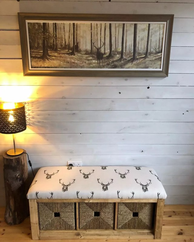 Simple Storage Bench Against a Shiplapped Wall. Photo by Instagram user @liamarieclarke