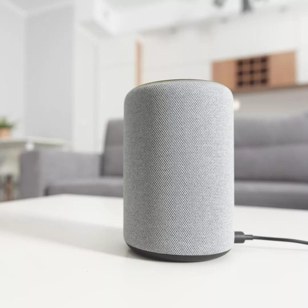 Amazon Alexa Device Sitting on a Coffee Table. Photo by Instagram user @insite_digital