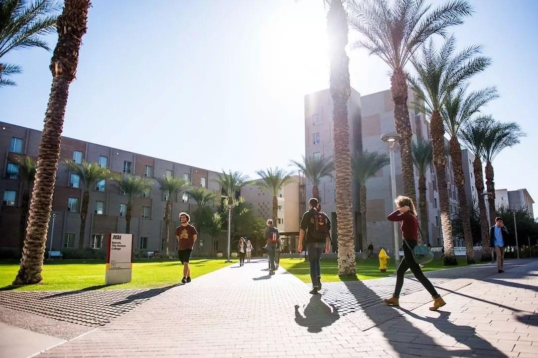 Students Walking on Campus at Arizona State University in Tempe. Photo by Instagram user @arizonastateuniversity