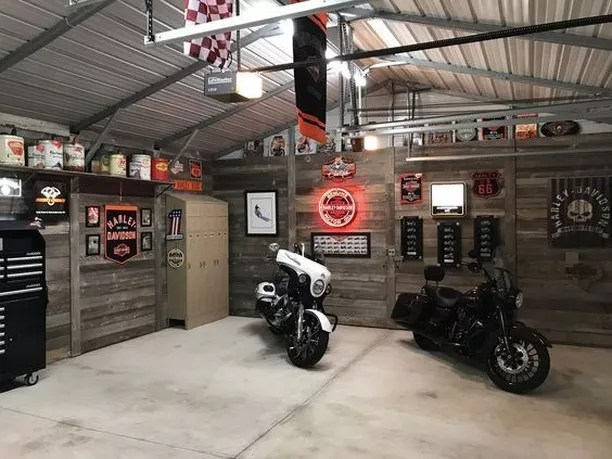 Garage Man Cave with Two Motorcycles Parked. Photo by Instagram user @yourcarcave