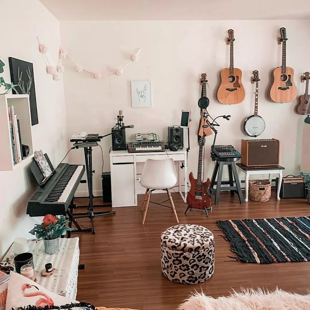 She Shed Music Studio Space with Guitars on the Wall. Photo by Instagram user @sallywallick