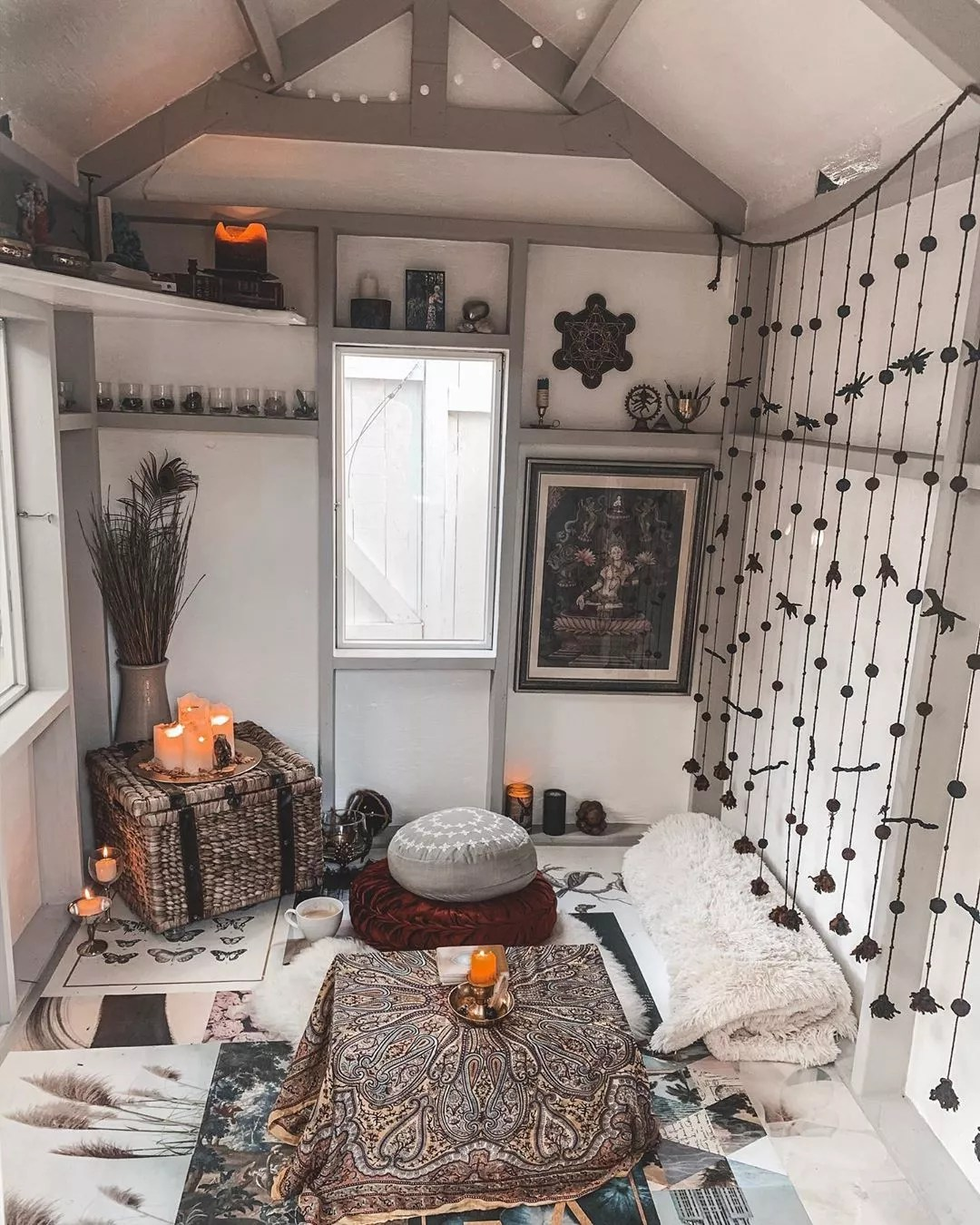 Meditation Room Set Up in a She Shed. Photo by Instagram user @jillian_tremaine