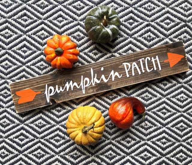 Home Made Sign that Reads Pumpkin Patch. Photo by Instagram user @jaxx_designs