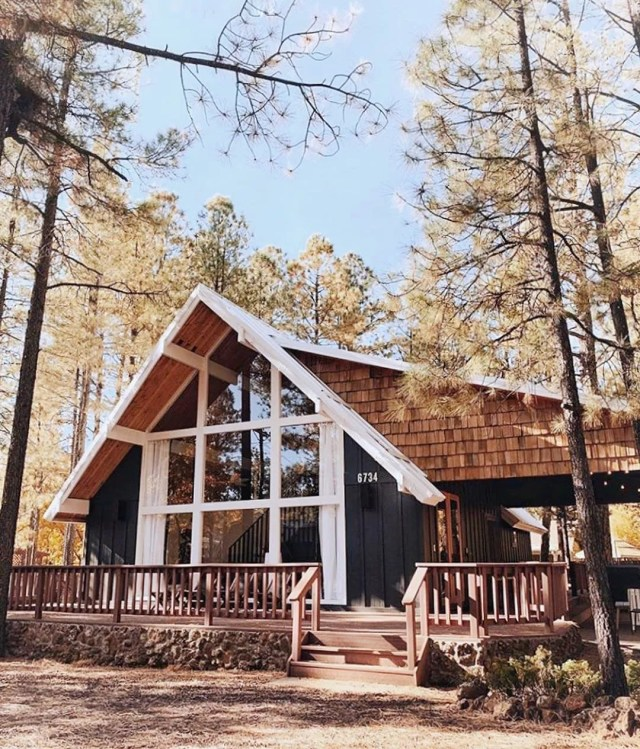 Modern Cabin in the Woods with Big Front Windows. Photo by Instagram user @getawayproperties