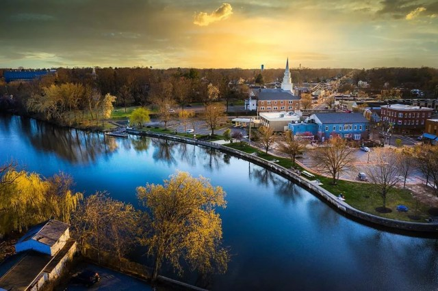 Downtown Highstown, NJ at Golden Hour. Photo by Instagram user @fotosforthefuture_drone