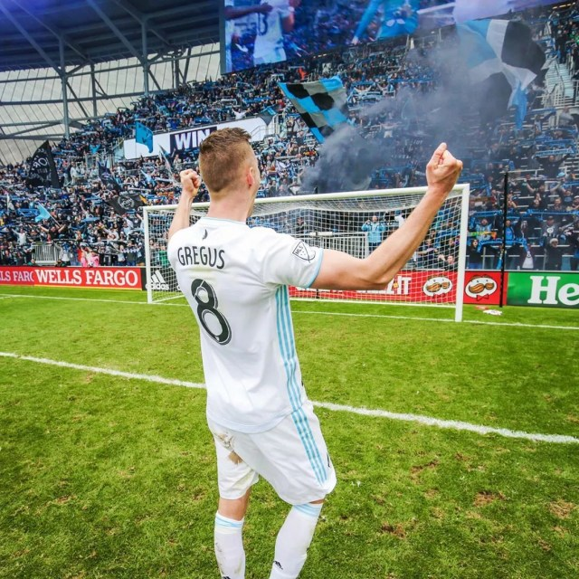 Minnesota United Player Celebrating a Game with Fans at Allianz Field. Photo by Instagram user @mnufc