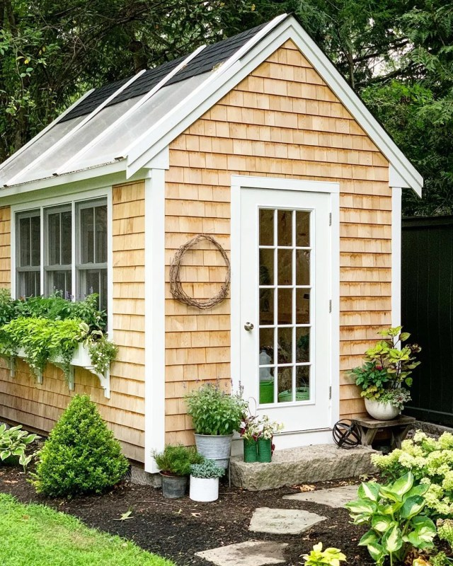 Backyard She Shed with Wooden Shingle Siding. Photo by Instagram user @thistlecontainers
